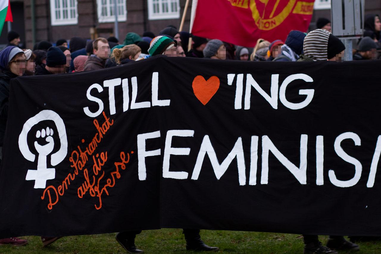 """""""Dem Patriarchat auf die Fresse."""": Transparent bei der Demonstration """"Alternativen zu Deutschland"""" am 31. Januar 2015 (CC-BY 2015 Sebastian Raible / @FreakkaerF / Stadtkontext.de)"""